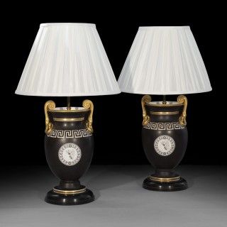 Antique Pair of Greek Revival Table Lamps