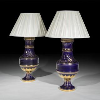 Pair of Antique Goût Grec Vase Table Lamps