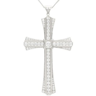 4.31ct Diamond and Platinum Cross Pendant - Antique Circa 1930