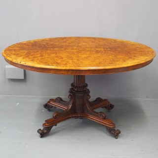 Victorian Burr Walnut Oval Breakfast Table