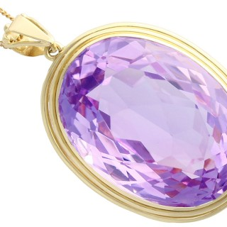 104.48 ct Amethyst and 14 ct Yellow Gold Pendant - Vintage Circa 1940