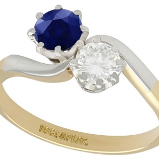 0.40 ct Diamond and 0.72 ct Sapphire, 18 ct Yellow Gold Twist Ring - Vintage Circa 1950