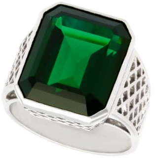 10.94 ct Tourmaline and 18 ct White Gold Dress Ring - Vintage Circa 1940