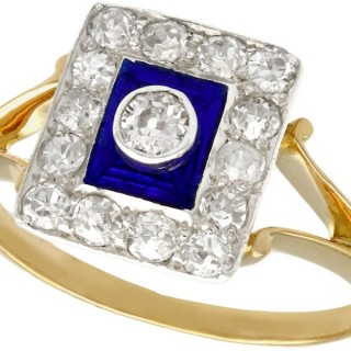 0.45 ct Diamond and Blue Enamel, 14 ct Yellow Gold Dress Ring - Vintage Circa 1940