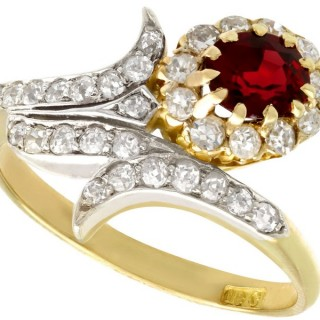 0.95ct Ruby and 0.83ct Diamond, 18ct Yellow Gold Twist Ring - Antique Cira 1910