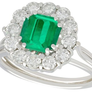 1.94 ct Emerald and 0.95 ct Diamond 18 ct White Gold Cluster Ring - Vintage Circa 1980
