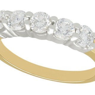 1.06 ct Diamond, 14 ct Yellow Gold Five Stone / Half Eternity Ring - Vintage Circa 1990