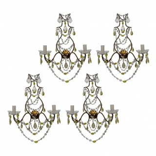 A SET OF FOUR GENOESE WALL LIGHTS