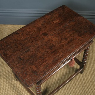 Antique English 17th Century Charles II Oak Occasional Side Hall Writing Table (Circa 1660)