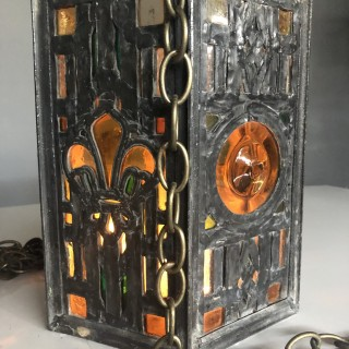 Lead and stained glass 19th Century lantern