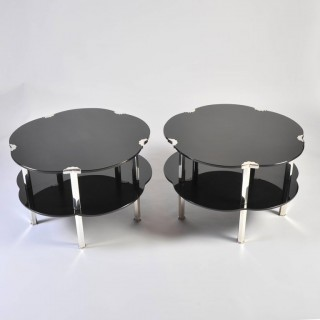 Pair of Black Glass and Silver 1930s French Japonaise