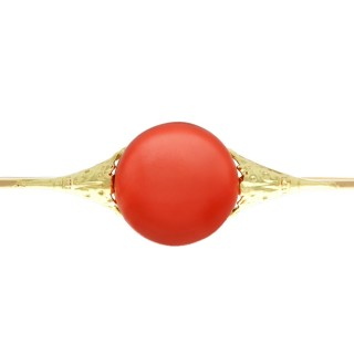 9.51ct Coral and 14 ct Yellow Gold Bar Brooch - German Antique Circa 1930