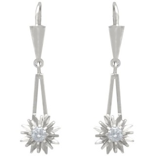 0.36 ct Diamond and 14 ct White Gold Drop Earrings - Vintage Circa 1960