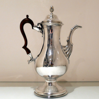 Antique George III Irish Sterling Silver Coffee Pot Dublin Circa 1775 Joseph Jackson