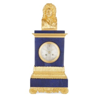 A gilt bronze and blue lapis lazuli clock with bust of Molière