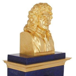 A gilt bronze and blue lapis lazuli clock with bust of Molière