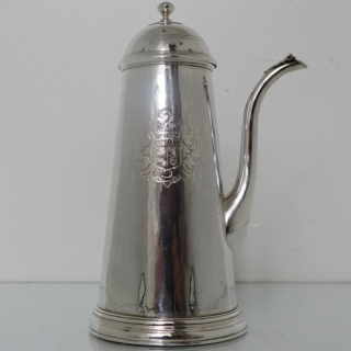Antique Britannia Silver Queen Anne Side Handled Coffee Pot London 1712 Francis Garthorne