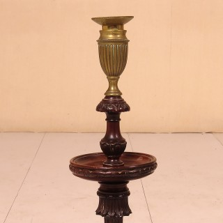 Late 19th Century Turned and Carved Mahogany Candlesticks -