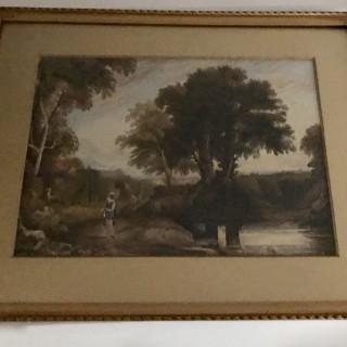 Antique Watercolour of Rural Scene.
