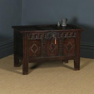 Antique English Charles II Oak Carved Triple Panel Coffer Chest Blanket Box (Circa 1670)