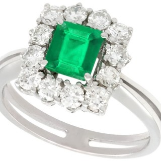 0.62 ct Emerald and 0.84 ct Diamond 15 ct White Gold Cluster Ring - Vintage Circa 1970
