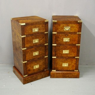 Victorian Military Style Burr Walnut Bedsides
