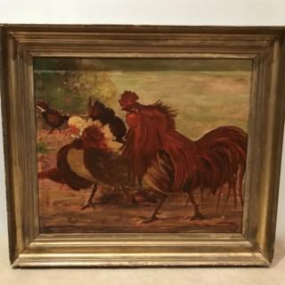 Primitive Painting of Cockerals