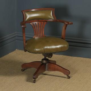 Antique English Edwardian Oak & Sage Green Leather Revolving Office Desk Arm Chair (Circa 1920)