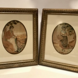Pair of Georgian Silk Pictures