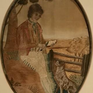 Pair of Georgian Silk Pictures