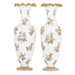 Pair of mid 19th Century Baccarat enamelled glass vases