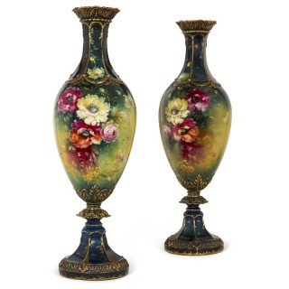 Very large pair of porcelain vases by Royal Bonn, Germany