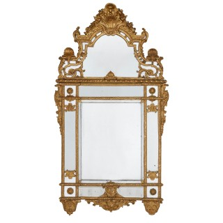 19th Century French carved gilt wood mirror in the Régence style