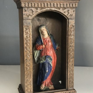 17th century oak niche carving with original painted decoration