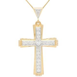 1.68ct Diamond and 18ct Yellow Gold Cross Pendant - Vintage Belgium Circa 1940