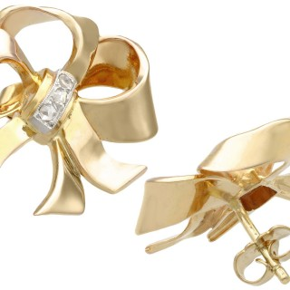 0.18ct Diamond and 18ct Yellow Gold Bow Earrings - Vintage Circa 1940