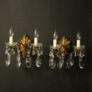 Italian Gilded Twin Arm Antique Wall Lights