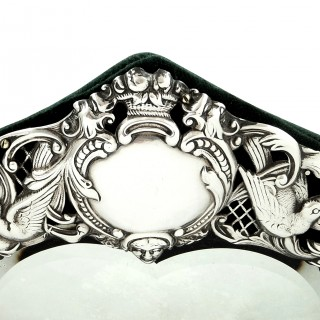 Antique Edwardian Sterling Silver Dressing Table Mirror  1901