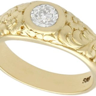 0.42ct Diamond and 14ct Yellow Gold Solitaire Ring - Antique Circa 1930