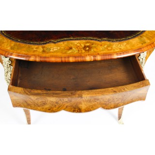 Antique Victorian Burr Walnut & Floral Marquetry Writing Table Desk 19th C