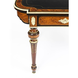 Antique Burr Walnut & Ebonised Ormolu Mounted Writing Table Desk c.1870 19th C