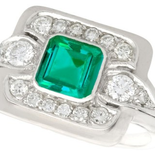 0.69ct Emerald and 0.52ct Diamond, Platinum Dress Ring - Vintage Circa 1950
