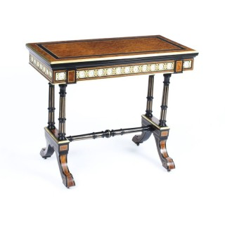 Antique Amboyna Card Table With Porcelain Plaques C1860 19th Century