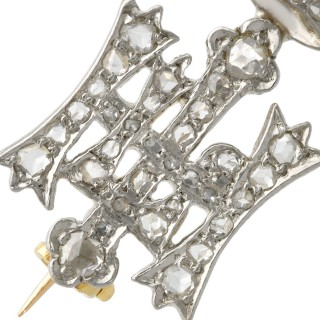 0.28ct Diamond, 14ct White Gold Highland Light Infantry Brooch - Antique Circa 1920