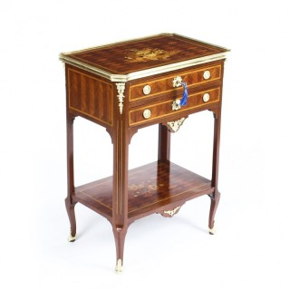 Antique French Parquetry & Marquetry Table en Chiffonière Work Table 19th C