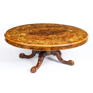 Antique Burr Walnut Marquetry Oval Coffee Table Circa 1860 19th Century