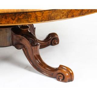 Antique Burr Walnut Marquetry Oval Coffee Table Circa 1860 19th Century