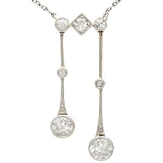 0.56ct Diamond and 15ct Yellow Gold, Platinum Necklace - Antique Circa 1910