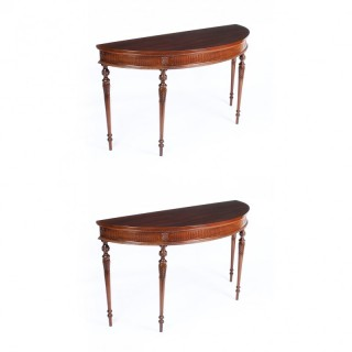 Antique Pair Edwardian Mahogany Demilune Console Side Tables 19th C