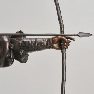 A powerful Japanese Meiji Period bronze okimono of Emperor Jimmu